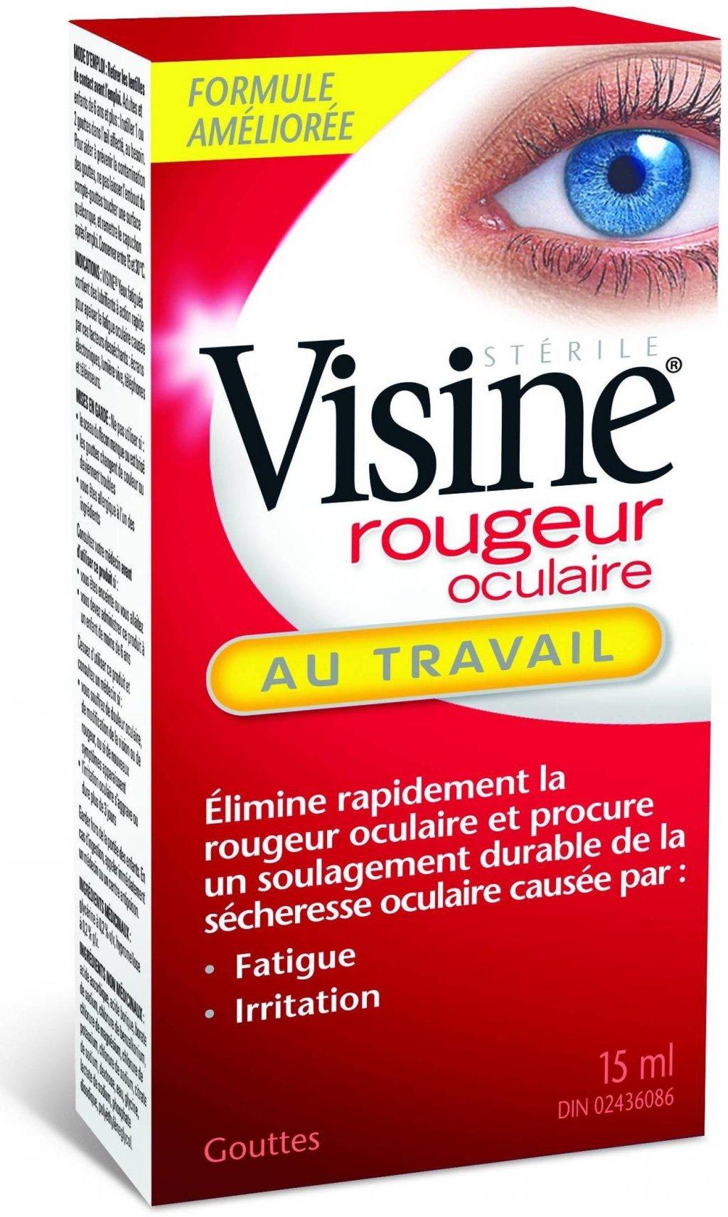 Visine rougeur oculaire au travail